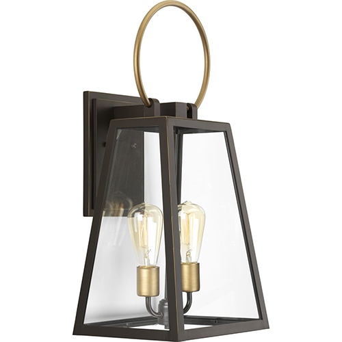 P560079-020: Barnett Antique Bronze and Brass Two-Light Outdoor Wall Sconce