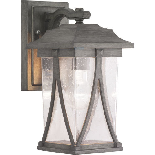 Abbott Antique Pewter 6-Inch One-Light Outdoor Wall Lantern With Transparent Seeded Glass