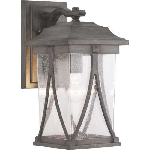 Abbott Antique Pewter 8-Inch One-Light Outdoor Wall Lantern With Transparent Seeded Glass