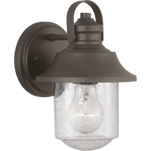 Weldon Bronze 6-Inch One-Light Outdoor Wall Lantern With Transparent Seeded Glass