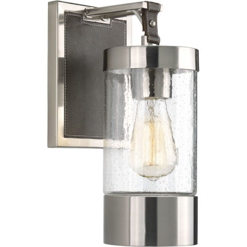 Brushed Nickel One-Light wall sconce With Transparent Seeded Glass
