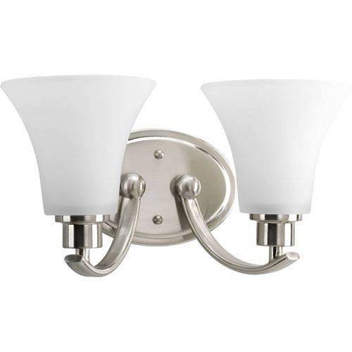 Progress Lighting Joy Brushed Nickel Two-Light Bath Fixture with Etched Glass Shade