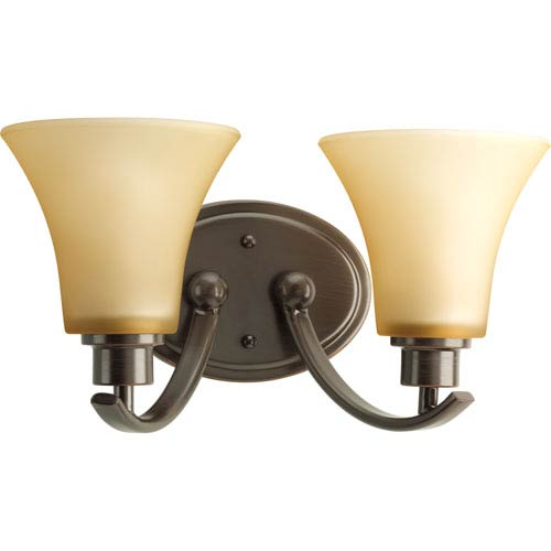 Progress Lighting Joy Antique Bronze Two-Light Bath Fixture with Etched Light Umber Glass Shades