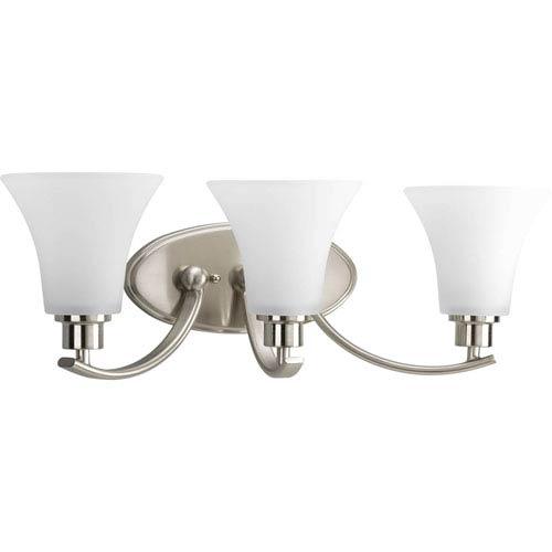 Progress Lighting Joy Brushed Nickel Three-Light Bath Fixture with Etched Glass Shade