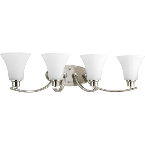 Progress Lighting Joy Brushed Nickel Four-Light Bath Fixture with Etched Glass Shade