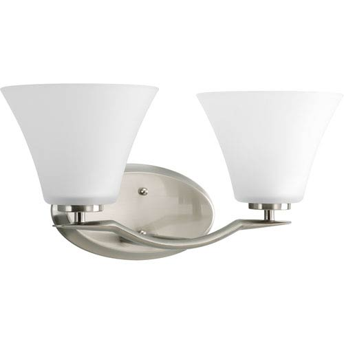 Progress Lighting Bravo Brushed Nickel Two-Light Bath Fixture with Etched Glass Shades