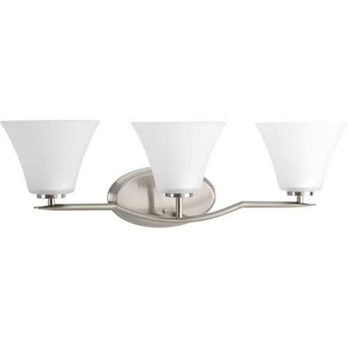 Bravo Brushed Nickel Three-Light Bath Fixture with Etched Glass Shade