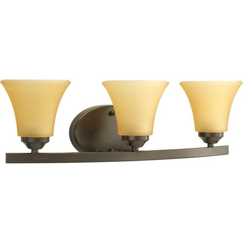 Progress Lighting Adorn Antique Bronze Three-Light Bath Fixture with Etched Light Umber Glass Shades