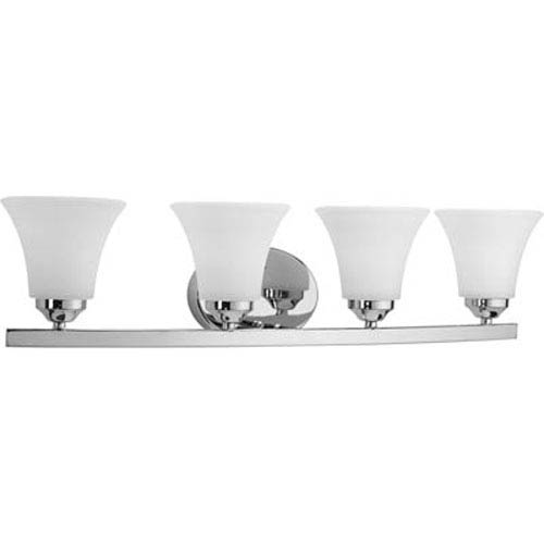 Progress Lighting Adorn Polished Chrome Four-Light Bath Fixture with Etched Glass Fluted Shade