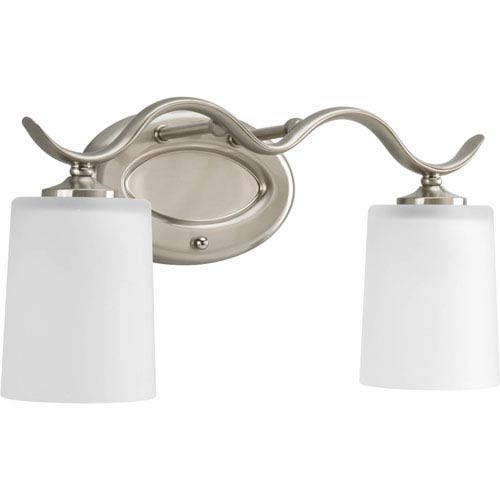 Inspire Brushed Nickel Two-Light Bath Fixture with Etched Glass