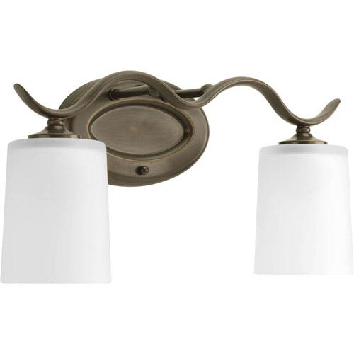 Progress Lighting Inspire Antique Bronze Two-Light Bath Fixture with Etched Glass