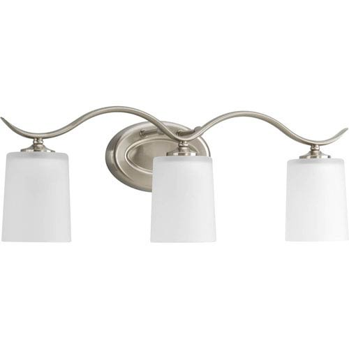 Inspire Brushed Nickel Three-Light Bath Fixture with Etched Glass