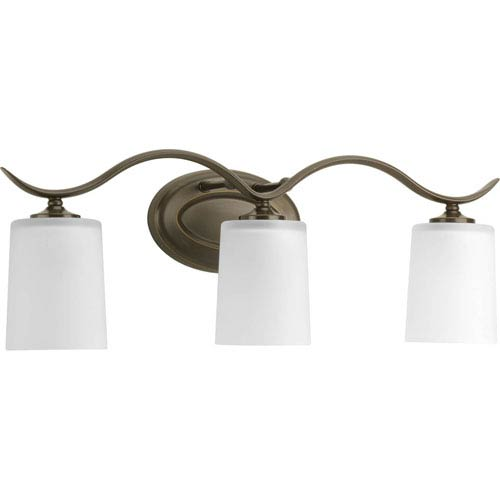 Inspire Antique Bronze Three-Light Bath Fixture with Etched Glass