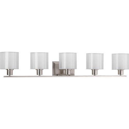 Invite Brushed Nickel Five-Light Vanity Fixture with White Silk Mylar Shade