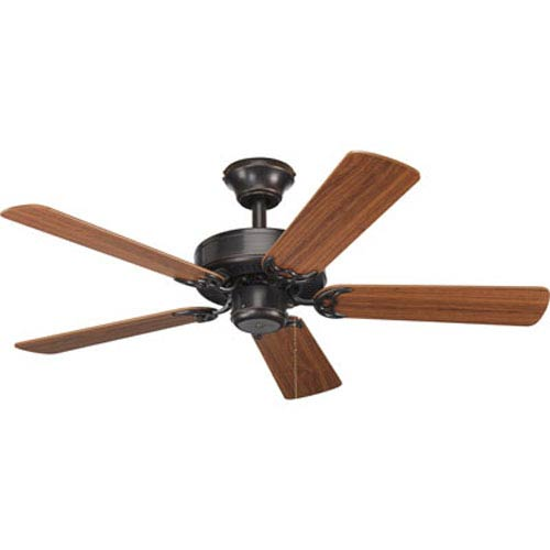 Progress Lighting AirPro Antique Bronze 12.37-Inch Ceiling Fans with 5 42-Inch Blades