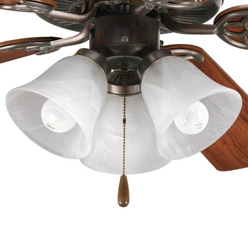 AirPro Antique Bronze Three-Light Light Kit for Ceiling Fan with White Washed Alabaster Glass