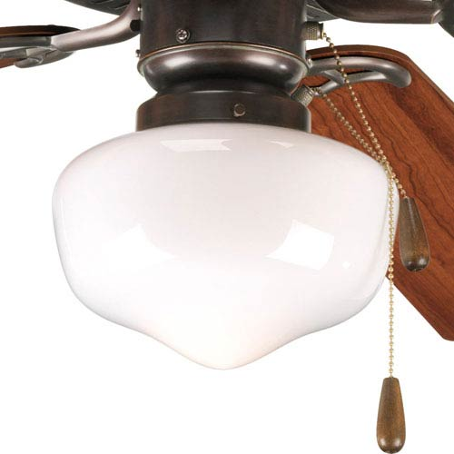 Progress Lighting AirPro Antique Bronze One-Light Light Kit for Ceiling Fan with White Opal Glass