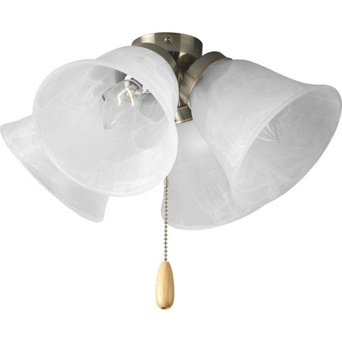 Universal Brushed Nickel Four-Light Light Kit for Ceiling Fan with Alabaster Glass