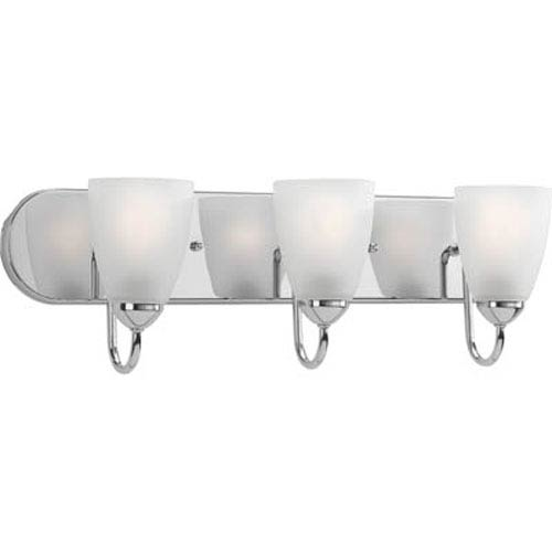 Progress Lighting Gather Polished Chrome Three-Light Bath Fixture with Etched Glass Shade