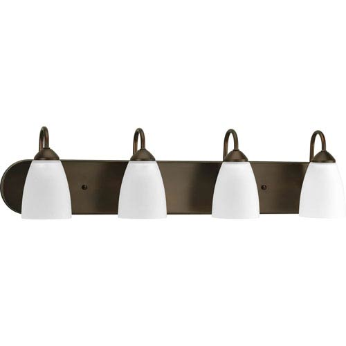 Gather Antique Bronze Four-Light Fixture Bath Fixture with Etched Glass Shade