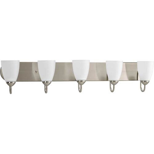 Progress Lighting Gather Brushed Nickel Five-Light Bath Fixture with Etched Glass Shade