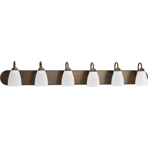 Progress Lighting Gather Antique Bronze Six-Light Bath Fixture with Etched Glass Shade
