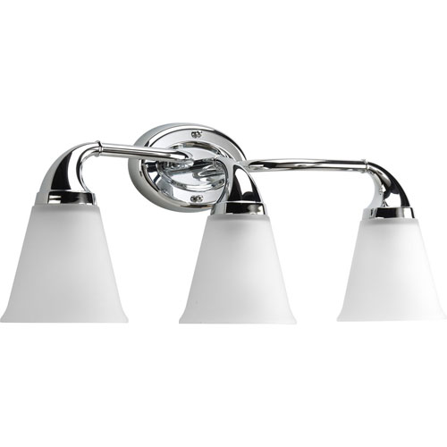 Progress Lighting Lahara Polished Chrome Three-Light Bath Fixture with Etched Glass