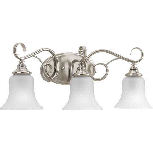 Kensington Brushed Nickel Three-Light Bath Fixture with Swirled Etched Glass Trumpet Shaped Shades