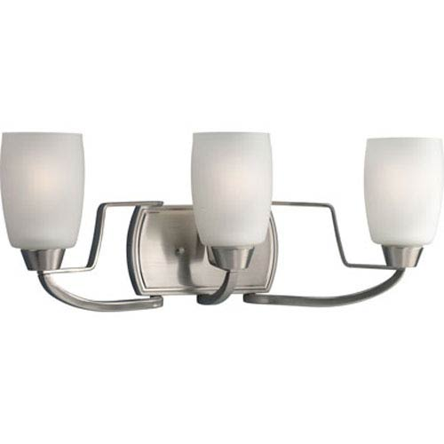 Progress Lighting Wisten Brushed Nickel Three-Light Bracket Bath Fixture with Etched Glass