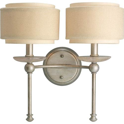 Progress Lighting Ashbury Silver Ridge Two-Light Wall Bracket with Toasted Linen Drum Shades