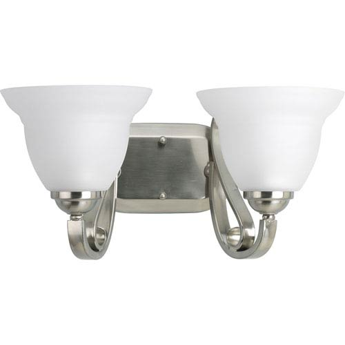 Progress Lighting Torino Brushed Nickel Two-Light Bath Fixture with Etched Glass Shades