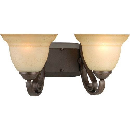 Progress Lighting Torino Forged Bronze Two-Light Bath Fixture with Tea-Stained Glass