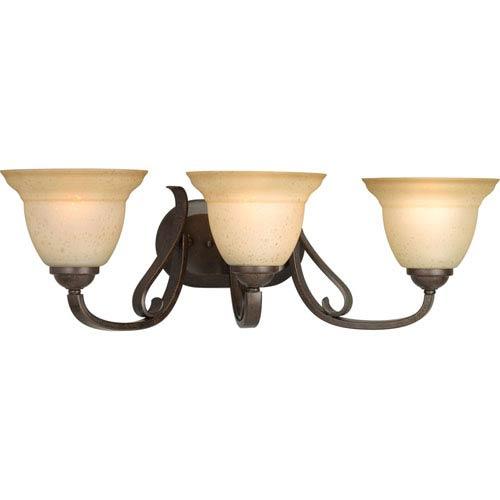 Progress Lighting Torino Forged Bronze Three-Light Bath Fixture with Tea-Stained Glass