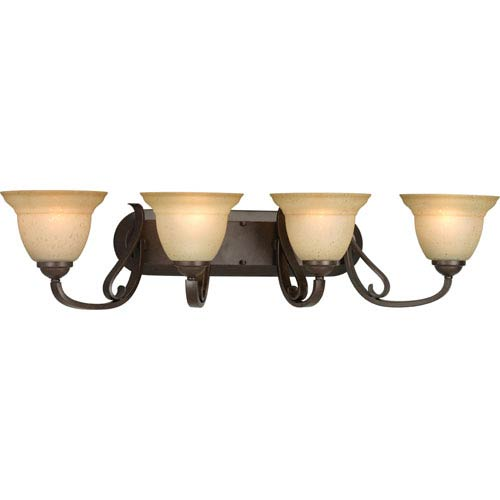 Progress Lighting Torino Forged Bronze Four-Light Bath Fixture with Tea-Stained Glass