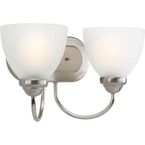 Progress Lighting Heart Brushed Nickel Two-Light Bath Fixture with Etched Glass Diffuser