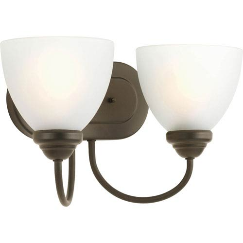 Progress Lighting Heart Antique Bronze Two-Light Bath Fixture with Etched Glass Diffuser