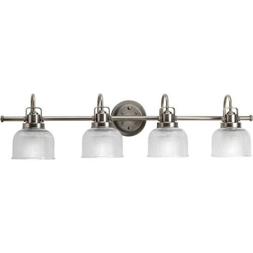 Progress Lighting Archie Antique Nickel Four-Light Bath Fixture with Clear Double Prismatic Glass Shades