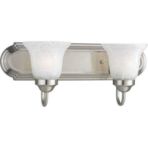 Progress Lighting Builder Bath Brushed Nickel Two-Light Elongated Racetrack-Style Bath Fixture with Alabaster Glass