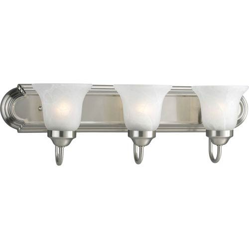 Builder Bath Brushed Nickel Three-Light Elongated Racetrack-Style Bath Fixture with Alabaster Glass