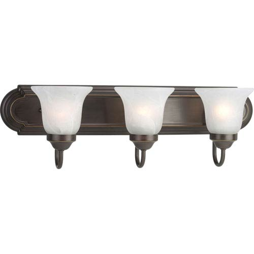 Progress Lighting Builder Bath Antique Bronze Three-Light Bracket Bath Fixture with Alabaster Glass