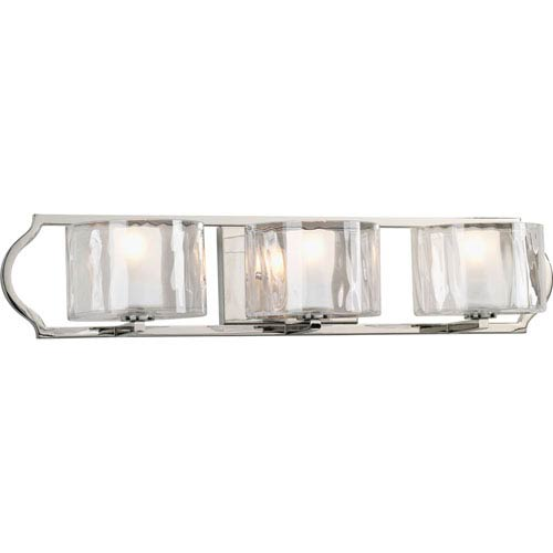 Progress Lighting Caress Polished Nickel Three-Light Bath Fixture with Glass Diffuser