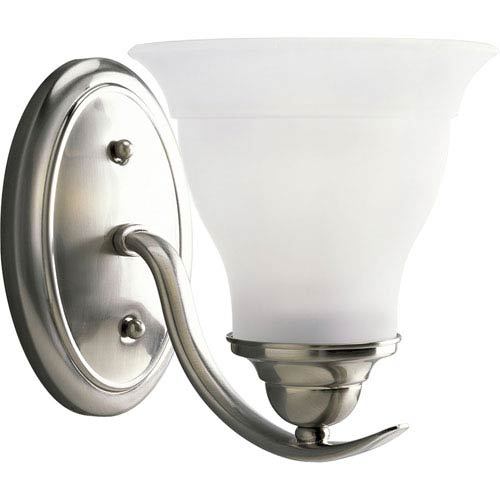 Trinity Brushed Nickel One-Light Bath Fixture with Etched Glass Shade