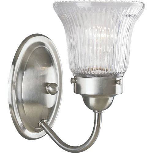 Progress Lighting Economy Fluted Glass Brushed Nickel One-Light Bath Fixture with Clear Prismatic Glass
