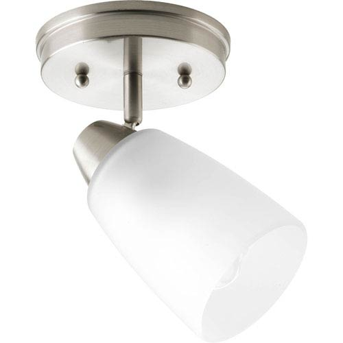 Progress Lighting Wisten Brushed Nickel One-Light Directional Convertible Wall Spot Light with Etched Glass