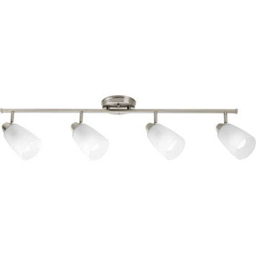 Progress Lighting Wisten Brushed Nickel Four-Light Directional Convertible Wall Spot Light with Etched Glass Shade