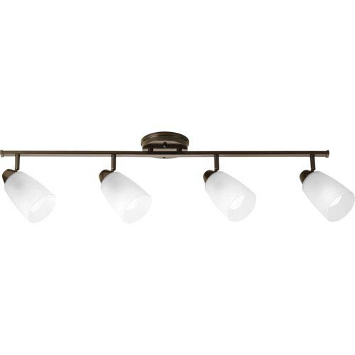 Progress Lighting Wisten Antique Bronze Four-Light Directional Convertible Wall Spot Light with Etched Glass Shade