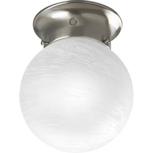 Glass Globes Brushed Nickel One-Light Flush Mount with Alabaster Glass