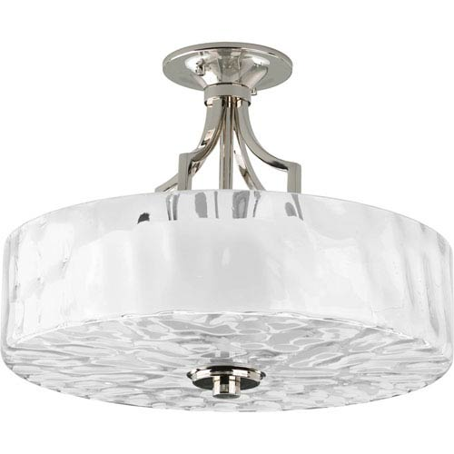 Progress Lighting Caress Polished Nickel Two-Light Semi-Flush Mount with Glass Diffuser