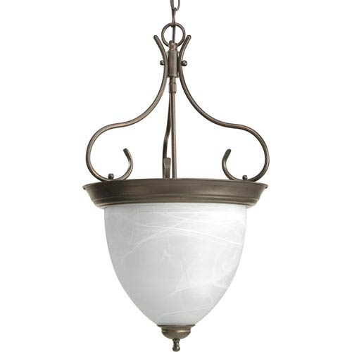 Progress Lighting Antique Bronze Four-Light Hall and Foyer Pendant with Alabaster Glass