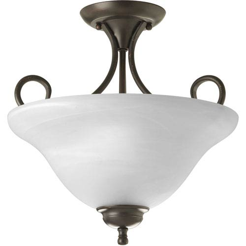 Antique Bronze Two-Light Semi-Flush Mount with Alabaster Glass
